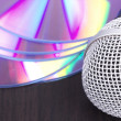 Vocal microphone and audio discs — Stock Photo