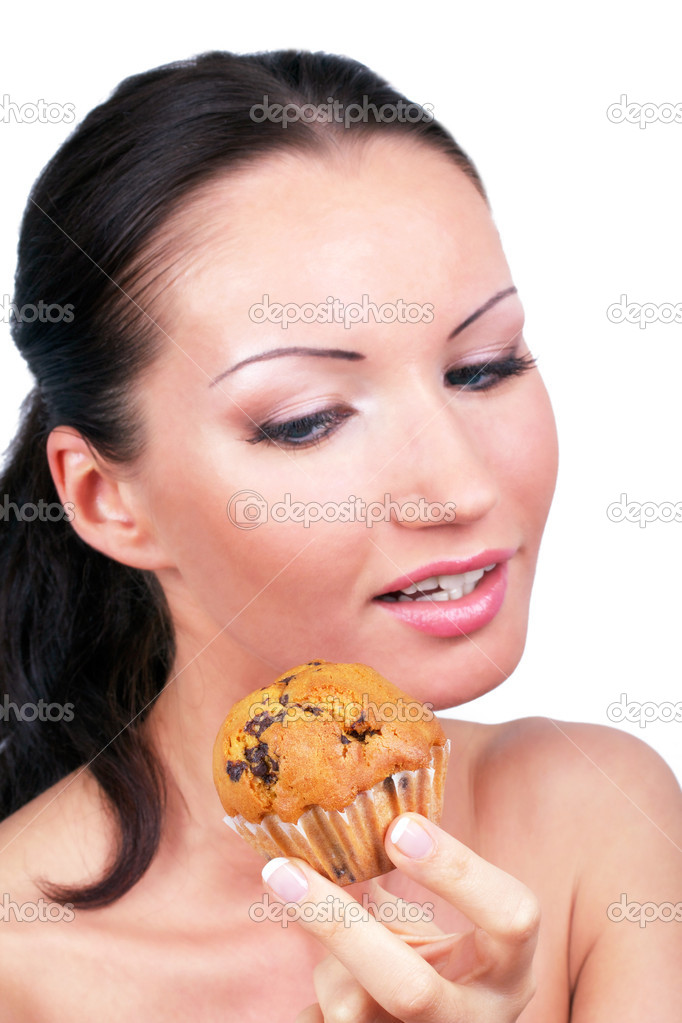Woman with cake in hand, portrait on white — Stock Photo #3573338