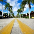 Stock Photo: Yellow dividing lines on road