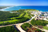 Caribbean island from helicopter view — Stock Photo