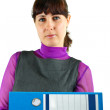 Girl with folders - Stock Photo