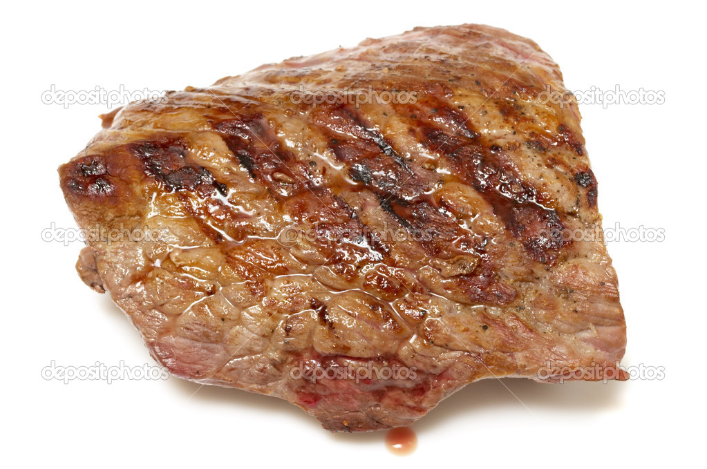 Grilled beef steak isolated over white background — Stock Photo #3133600