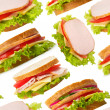 Ham sandwiches seamless wallpaper — Stock Photo