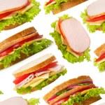 Ham sandwiches seamless wallpaper — Stock Photo