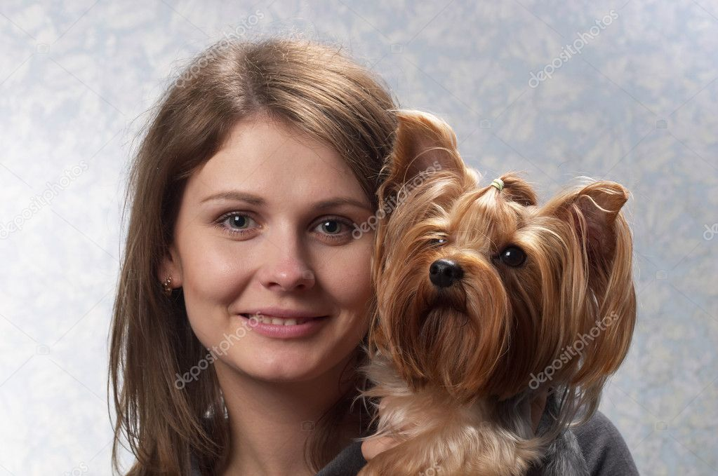 Young woman with her Yorkshire terrier portrait over light defocused background  Stock Photo #3516166