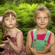 Two strange little girls — Stock Photo