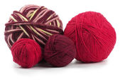 Four colored wool clews — Stock Photo