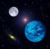 The Earth, Moon, stars — Stock Photo
