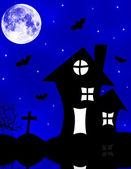 Halloween kusliga huset — Stockfoto