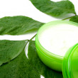 Face cream with green leaf — Stock Photo