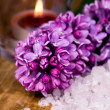 Lilac, bath salt and candle - Zdjęcie stockowe