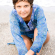 Woman in blue dress on the beach — Stock Photo #3767050