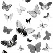 Stock Vector: Set of black butterflies