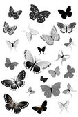 Set of black butterflies — Stock Vector