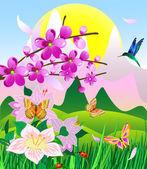 Flowering cherry — Stock Vector