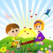 Children on the meadow - Stock Vector