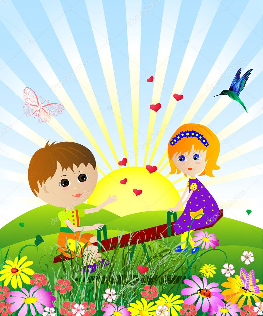 Children on the meadow — Stock Vector #2746884
