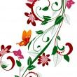 abstract floral design met vlinders — Stockvector