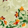 Vecteur: Abstract floral design with butterflies