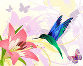 Pink floral fantasy colibri — Stock Vector