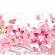 Floral pattern of lilies - Stock Vector
