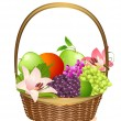 Stock Vector: Wicker fruit basket with flowers