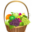 Wicker basket with fruit — Stock Vector