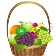 Stock Vector: Wicker basket with fruit