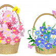 Stock Vector: Flower baskets