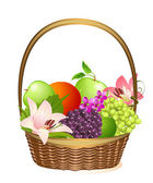 Wicker fruit basket with flowers — Stock Vector