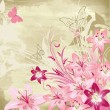 Floral watercolor background with lilies — Stock Vector