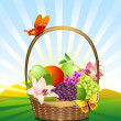 Fruit basket on the lawn — Stockvectorbeeld