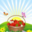 Basket of strawberries on the lawn — Stock Vector #3002682