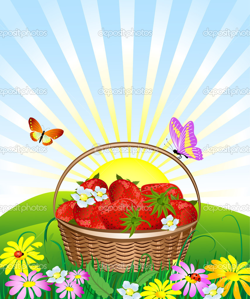 Basket of strawberries on the lawn  Stock Vector #3002682