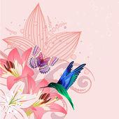Birdie on the lilies — Stock Vector