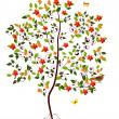 Young flowering tree — Stock Vector