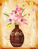 Vase with a bouquet of lilies — Stock Vector