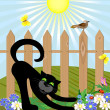 Royalty-Free Stock Vector Image: Black cat and bird