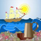 Still life sailor — Stock Vector
