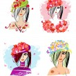 Vector de stock : Flower hats
