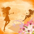 Flower fairies on the grunge background - Stock Vector