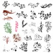 Set of abstract floral patterns - Stock vektor