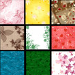Set of abstract floral background - Stock Vector