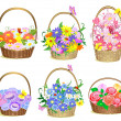 Stock Vector: Baskets of flowers