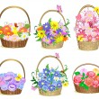 Royalty-Free Stock Vector Image: Baskets of flowers