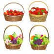 Stock Vector: Fruit and berry baskets