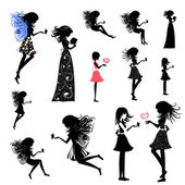 Girl fairy set — Stock Vector
