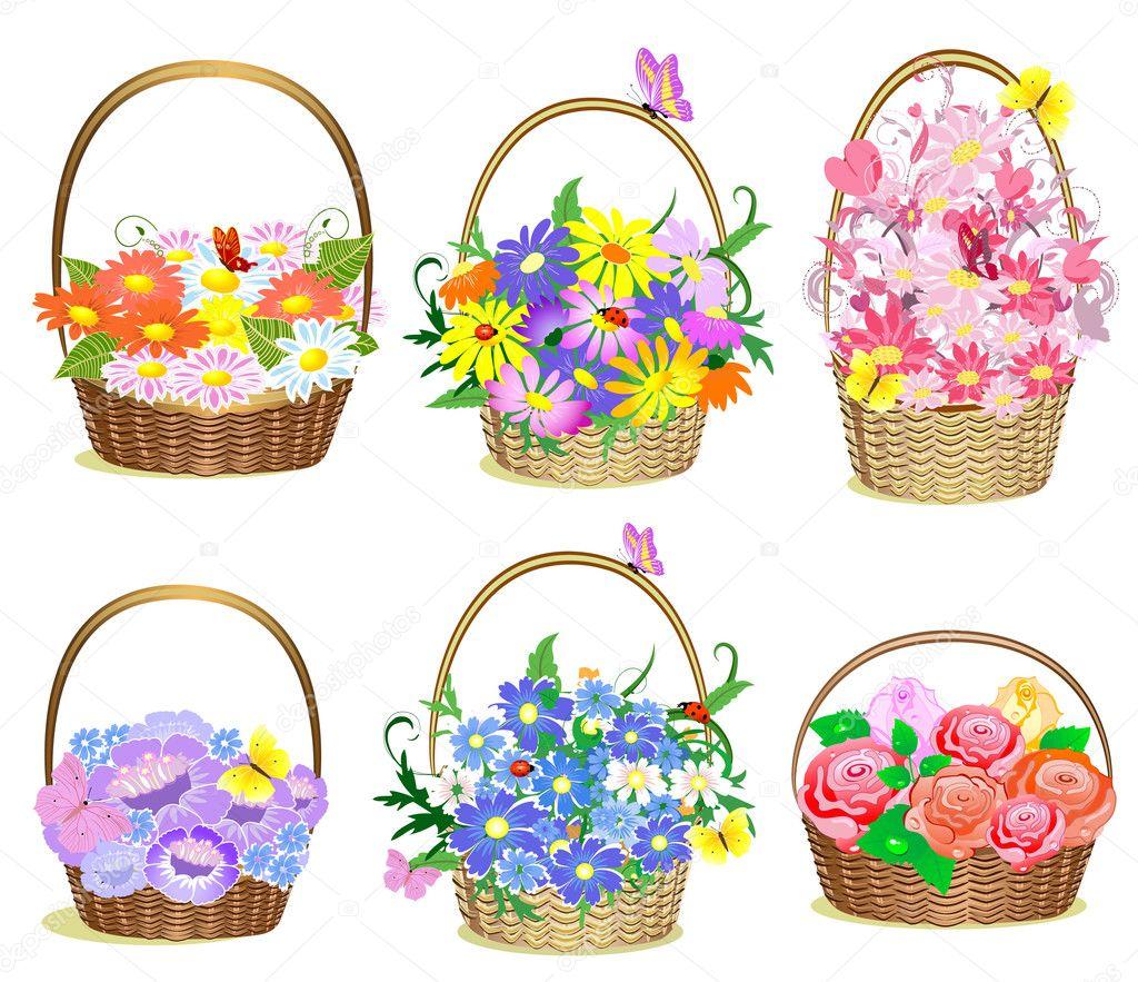 Flower Baskets Vector : Baskets of flowers stock vector ? oksana