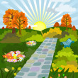 Sunny day in autumn park — Vector de stock #3778978