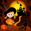 Little Witch with pumpkin — Stock Vector